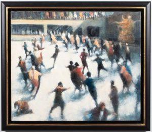 Bill Jacklin Rockefeller Skaters Oil on Canvas