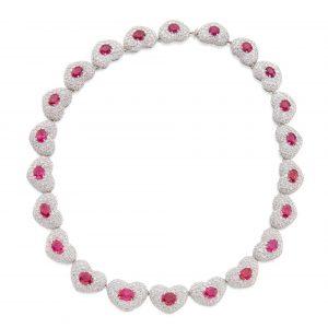 Michele della Valle - Ruby and Diamond 'Cuori' Necklace
