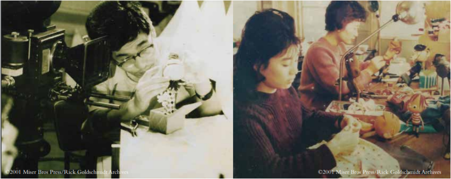 Tadahito Mochinaga's puppet production team works on props for Rudolph the Red-Nosed Reindeer. Image from Profiles in History.