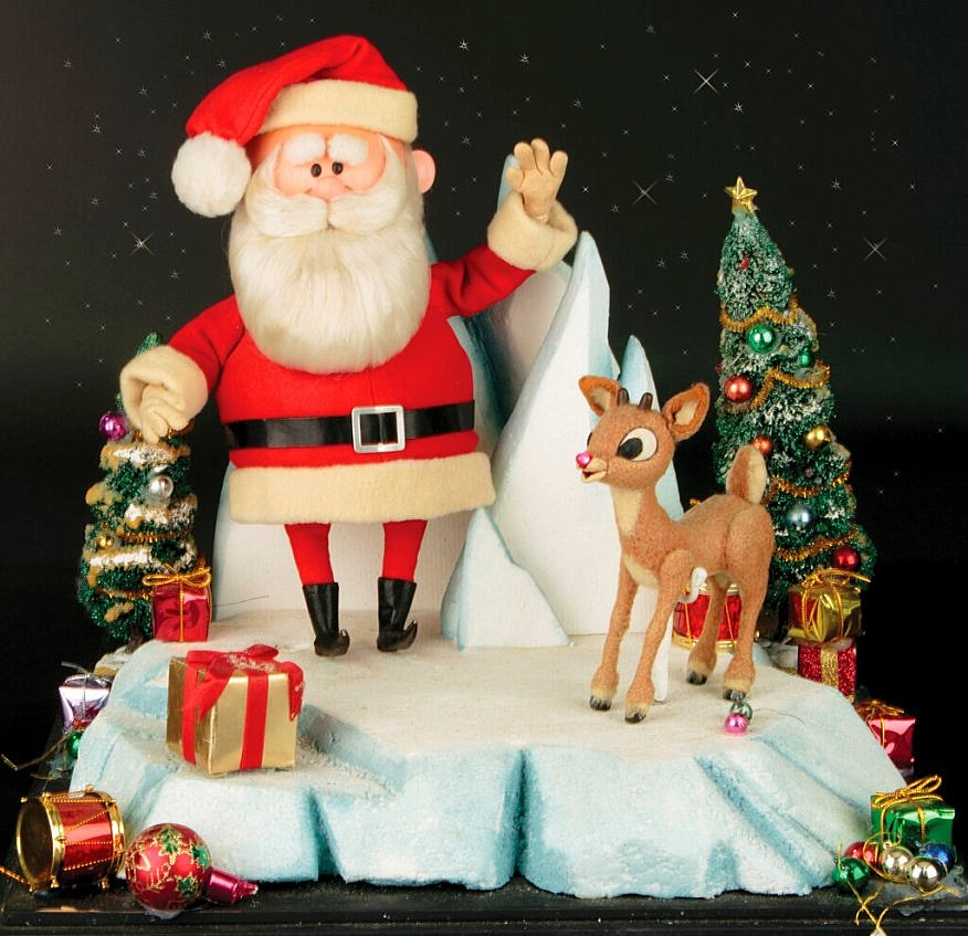 The original Rudolph and Santa Claus puppets from the 1964 TV special. Image from Profiles in History.