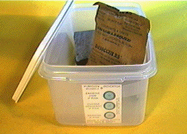 Example of an appropriate storage container for a meteorite, with desiccant. Photo by The Meteorite Market.