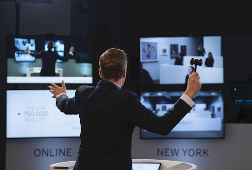 Sotheby's auctioneer Oliver Barker during a livestreamed sale. Image courtesy of Sotheby's.