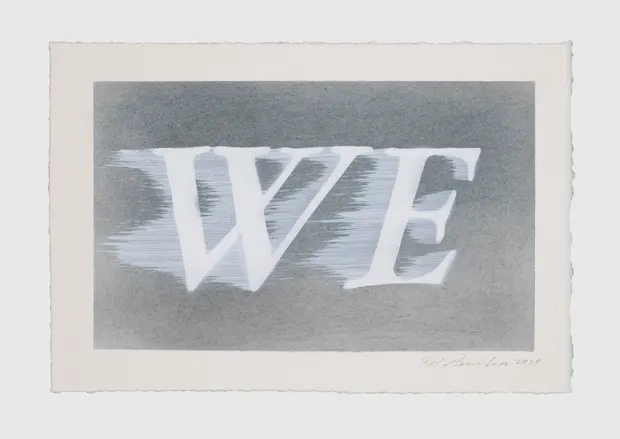 Ed Ruscha, We (#1), 2020. Image from The Guardian.