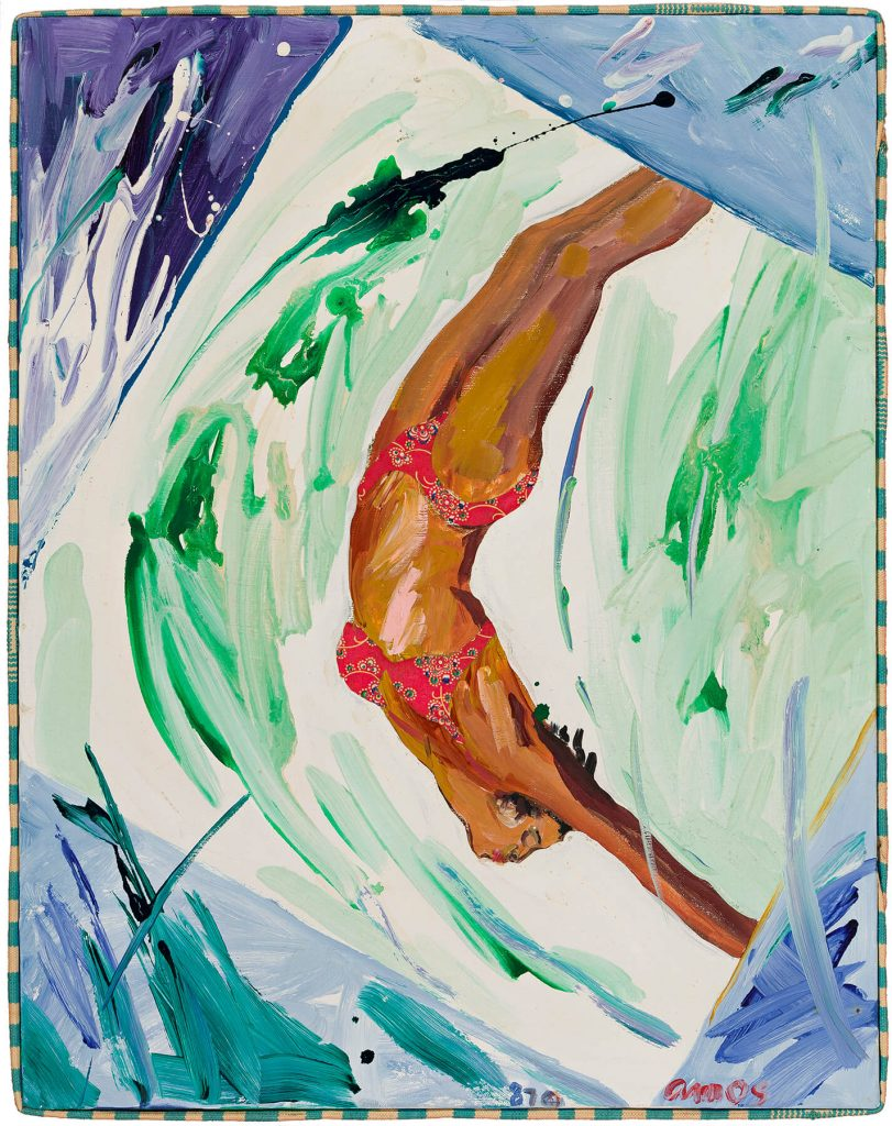 Emma Amos, Water Baby, acrylic and fabric collage, with Kente cloth border, 1987. Estimate $35,000 to $50,000.