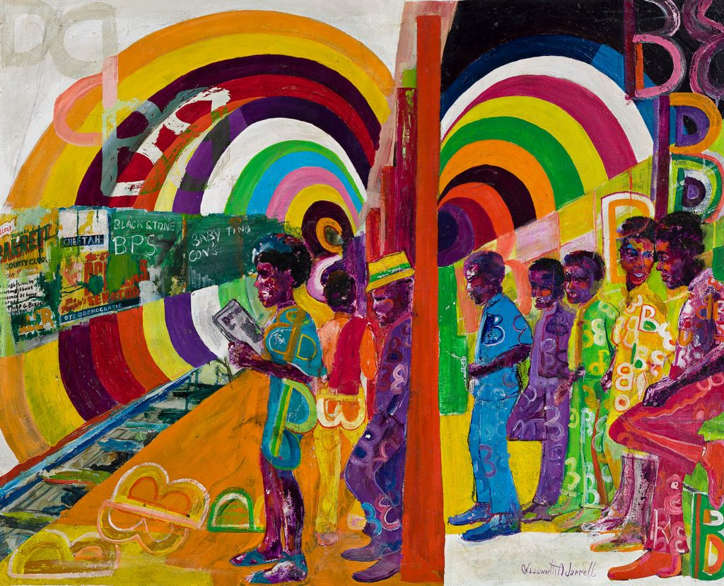 Wadsworth Jarrell, Subway, acrylic on canvas, 1970. Estimate $100,000 to $150,000.
