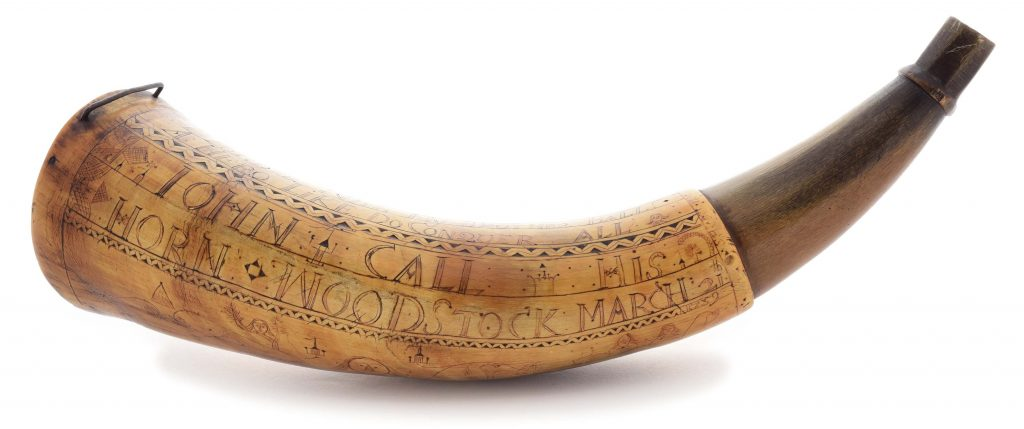 Important And Historic Engraved Powder Horn Of John Call, Dated 1759.