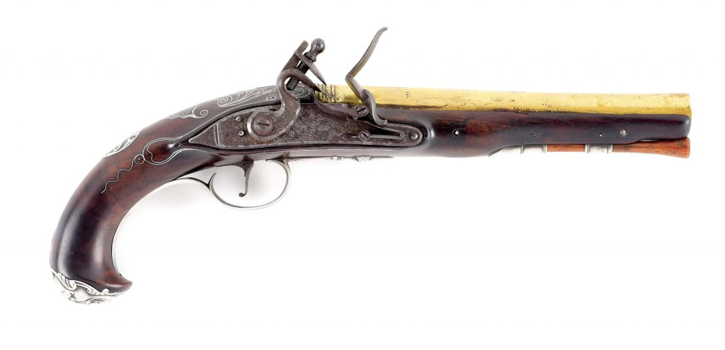 An Extremely Rare, Silver-mounted, Officer's Pistol Made At Rappahannock Forge, Virginia.