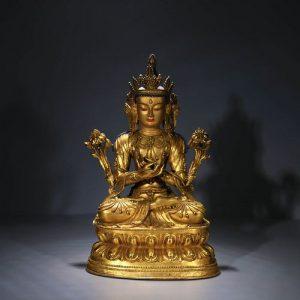 A Chinese Gild Bronze Tara Statue