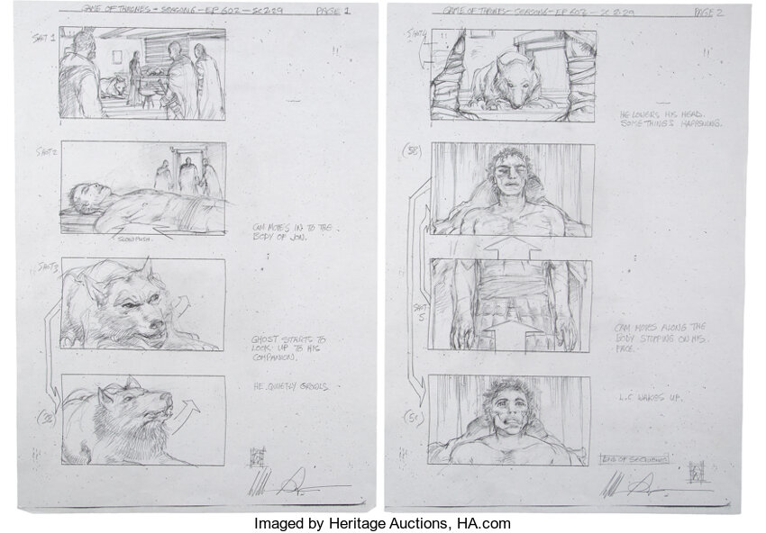 Game of Thrones Jon Snow Awakens Storyboards by William Simpson. Photo courtesy of Heritage Auctions.