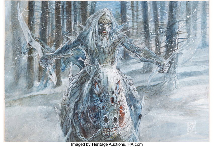 Game of Thrones White Walker Preliminary Concept Painting by William Simpson. Photo courtesy of Heritage Auctions.