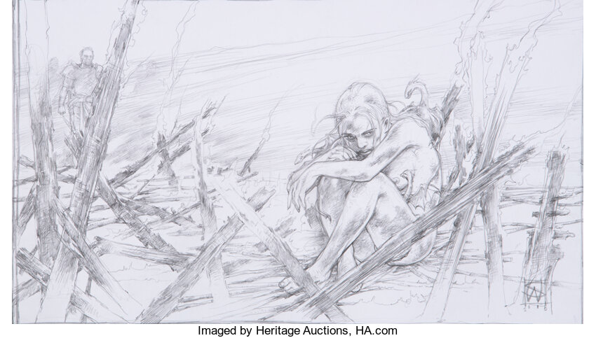Game of Thrones Daenerys Targaryen, Jorah, and Dragons Concept Drawing. Photo courtesy of Heritage Auctions.