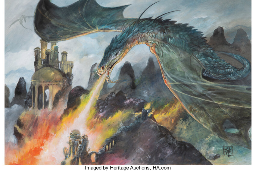 Game of Thrones Dragons Preliminary Concept Painting by William Simpson. Photo courtesy of Heritage Auctions.