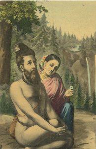 Antique - Vintage Postcard Vishwamitra and Menaka