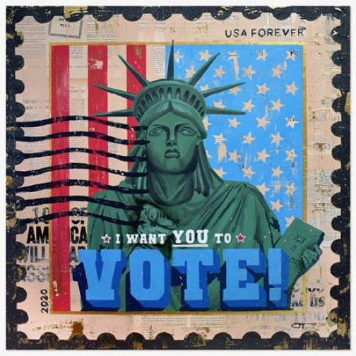 Jojo Anavim (B. 1985, New York), I Want YOU to Vote!, 2020.  Image from Christie's.
