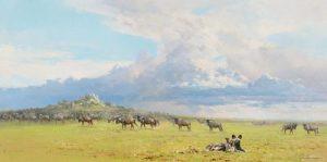 David Shepherd (1931–2017)- Serengeti Skies (1977)