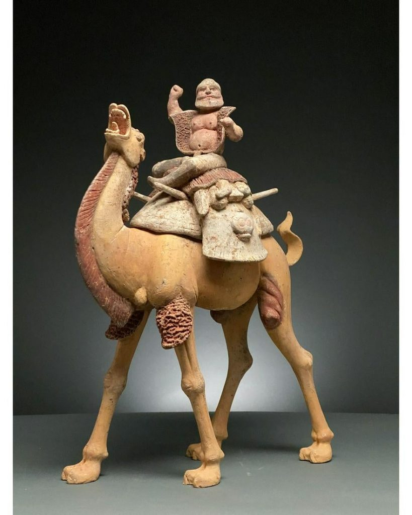 China, Tang Dynasty, pottery figurine of a Bactrian camel and rider, circa 618-907 A.D., 610mm x 440mm. Provenance: Private collection of Oxford professional, formed in 1970s-1990s on UK art market. Estimate £6,000-£12,000