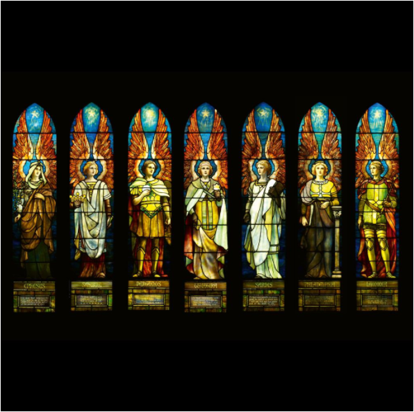 Tiffany Studios, Angels Representing Seven Churches, 1902. Image from Freeman's.