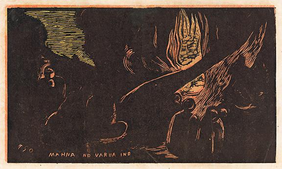Paul Gauguin, Mahna No Varvua Ino, color woodcut, 1893–94. Estimate $20,000 to $30,000.