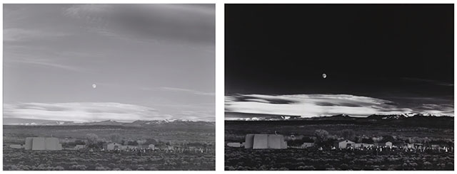 Early example vs. late example of Moonrise, Hernandez, New Mexico by Ansel Adams. Photo by PetaPixel.