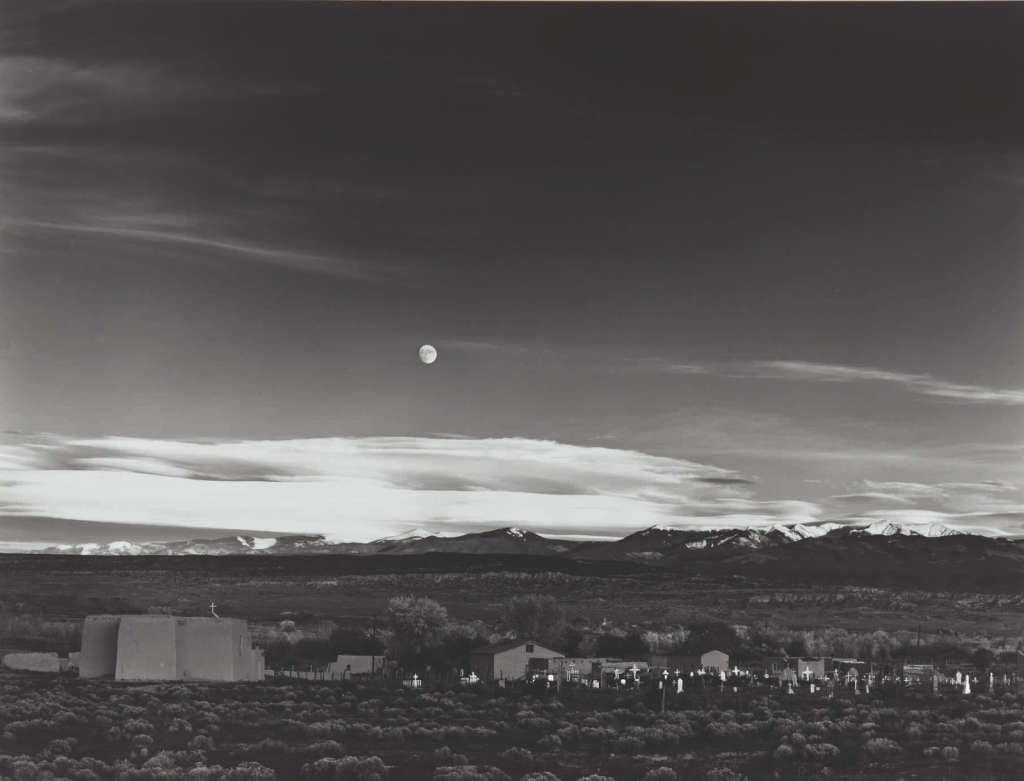 Moonrise, Hernandez, New Mexico by Ansel Adams. Photo by Sotheby's.