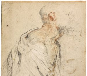 Recto: An old bearded man holding a bundle beneath his arm; verso- Various composition studies by Sir Anthony van Dyck.