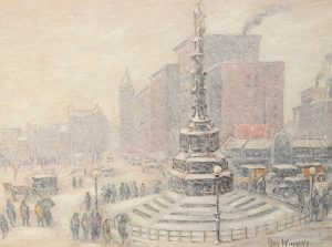 Guy Carleton Wiggins (American, 1883 - 1962) New York Storm, Columbus Circle oil on board signed lower right Guy Wiggins signed and titled verso Mid