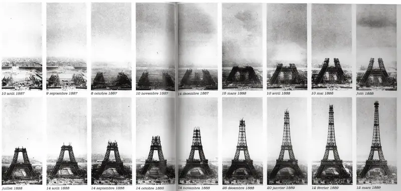 Timeline of the Eiffel Tower's construction. Photo from the Public Domain Archive.