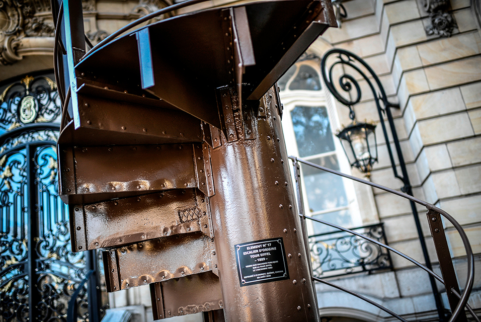 Segment of the Eiffel Tower's original staircase sold at auction on December 1st, 2020. Photo by Stephane de Sakutin/AFP.
