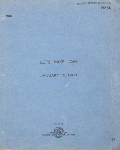 Marilyn Monroe, script from Let's Make Love, 1960. Image from Julien's Auctions.