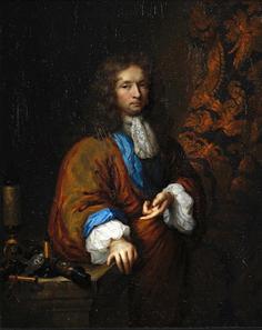 Caspar Netscher (1639-1684), portrait of a gentleman scientist, probably Constantijn Huygens. Image from Bonhams.