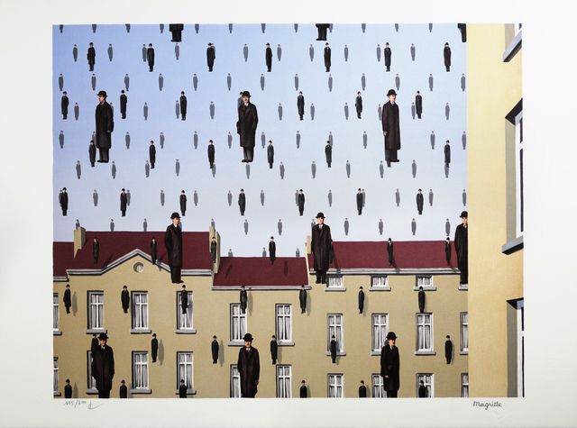 Lithograph of Golconde by René Magritte. Image from Artsy.
