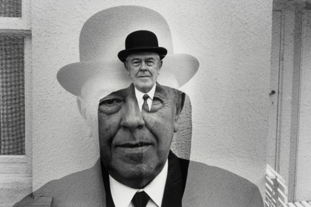 Rene Magritte in a Bowler Hat by Duane Michals. Image from the Museum of Contemporary Art.