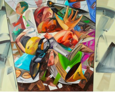 Dana Schutz (B. 1976), Elevator. oil on canvas. Sold for USD 6,457,751 on 2 December 2020 at Christie's in New York. Image from Christie's.