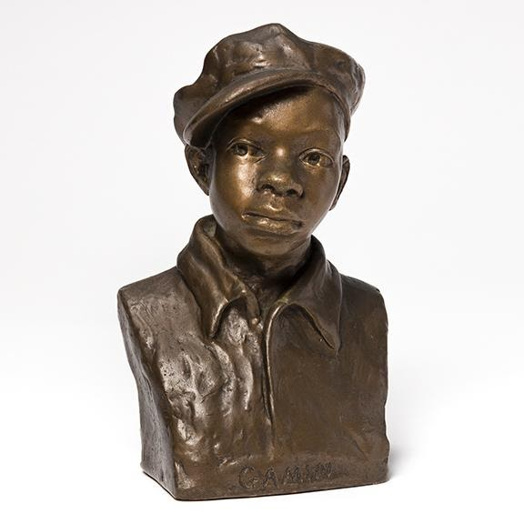 Augusta Savage, Gamin, plaster painted gold, circa 1929. Sold for $112,500, a record for the artist.