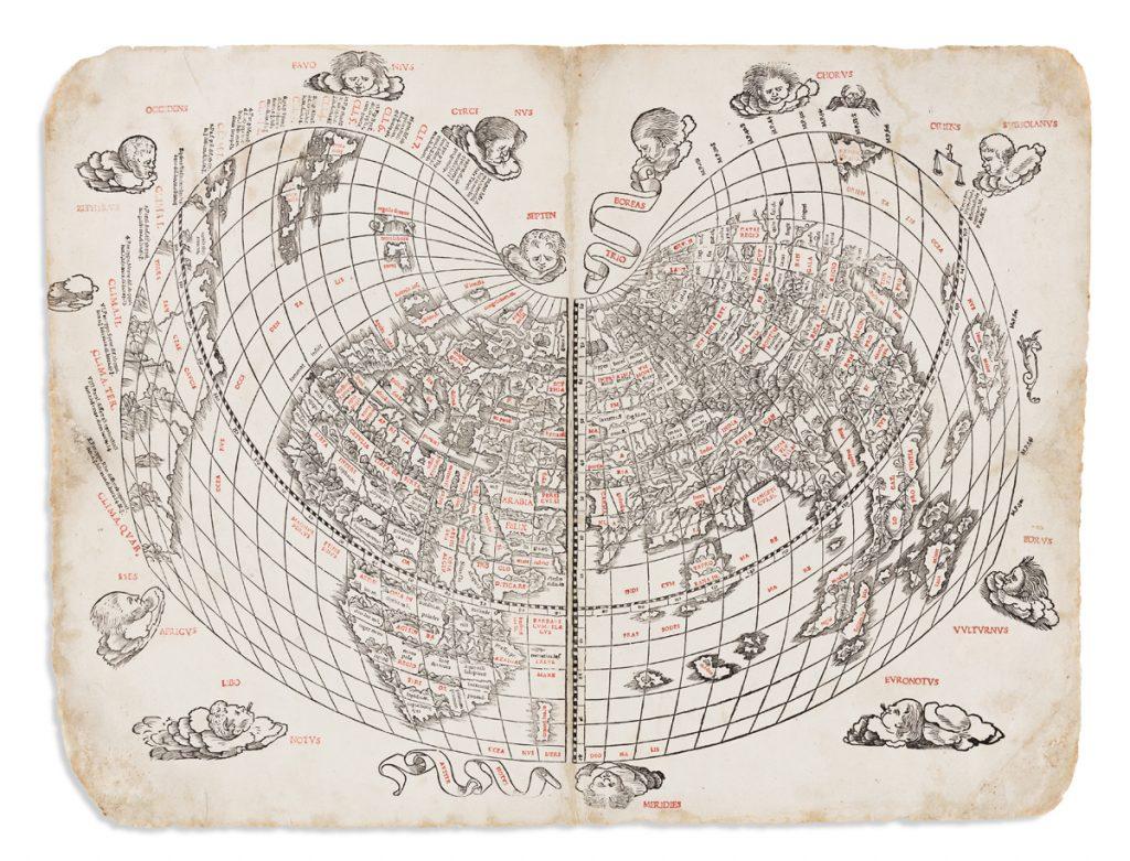 Bernardus Sylvanus, Untitled World Map, Venice, 1511. Estimate $20,000 to $30,000.