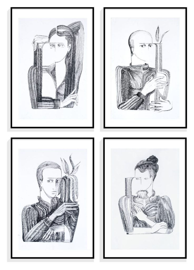 Michal Helfman, Four Portraits from Lockdown Ladies, 2020. Image from Greenhouse Auctions.