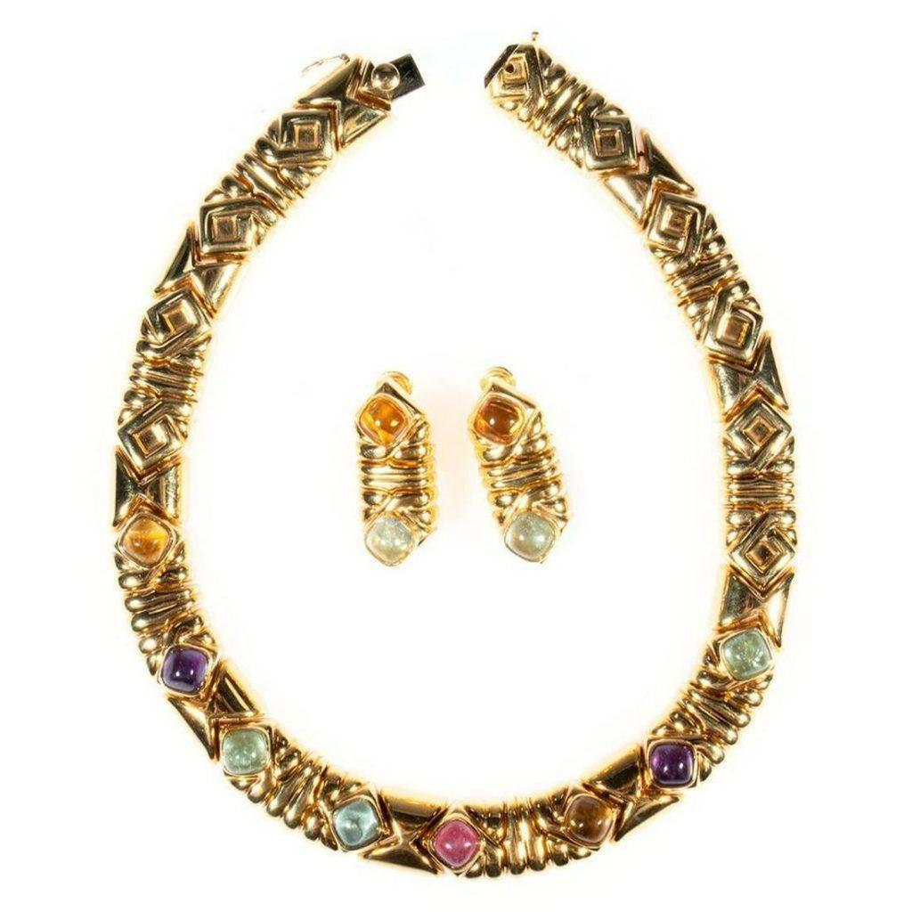 Kria semi-precious & 18k gold collar and earring set