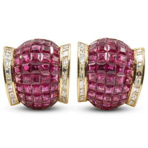 Van Cleef Arpel Style Mystery Set 18k & Ruby Earrings