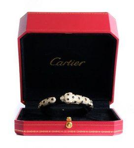 Attr. Cartier 18K YG Diamonds Panther Bracelet