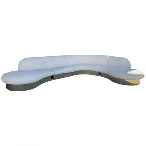 Milo Baughman Sectional Serpentine Sofa with Brass Base