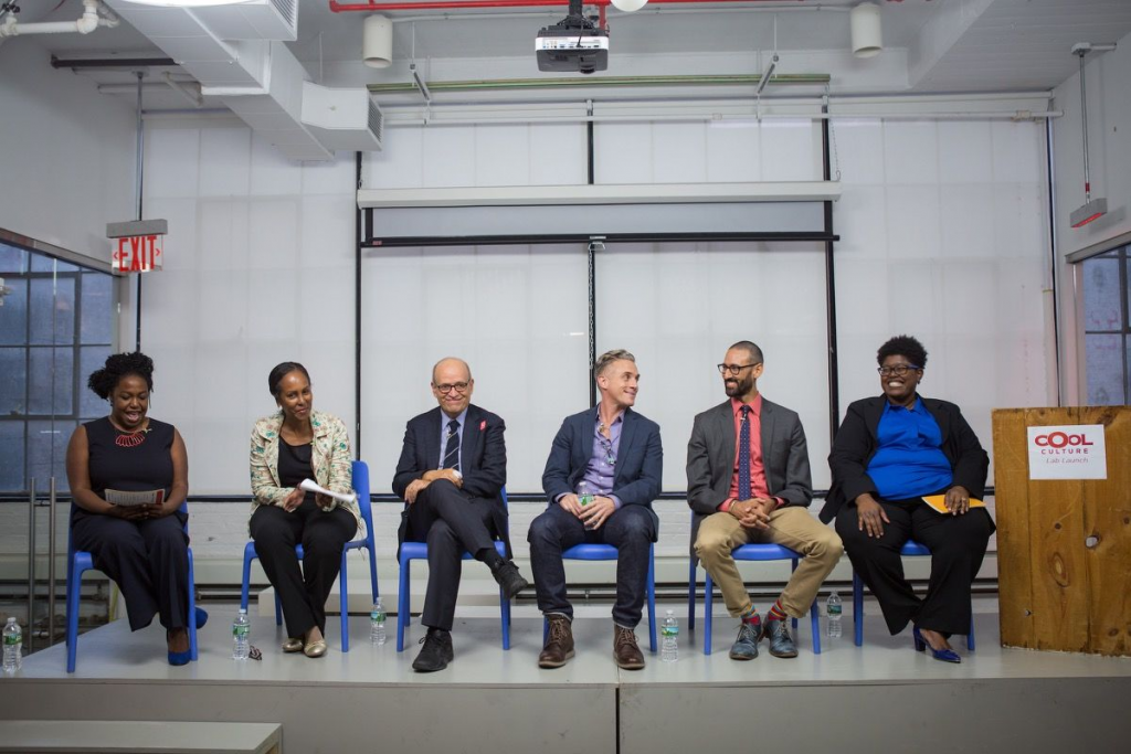 Candice Anderson, Margaret Morton, Tom Finkelpearl, Miguel Luciano, James E. Bartlett, and Nicole Ivy discussing art world diversity in 2016. Photo by Margarita Corporan, courtesy of Cool Culture.
