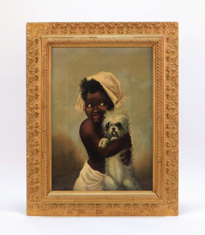 """19th century oil on canvas Black Americana painting, depicting a young girl in a bonnet grinning while holding a small white dog close to her chest, signed and dated """"Paul 88"""" (est. $600-$900)."""