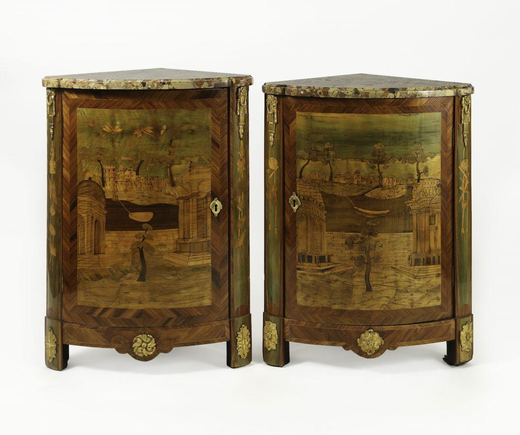 Pair of Louis XVI Tulipwood Marquetry Corner Cabinets, P. Roussel (Est.:$15,000-20,000)