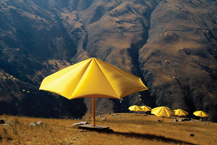 Christo and Jeanne-Claude. The Umbrellas, Japan-USA, 1984-91. Image from Christo and Jeanne-Claude's website.