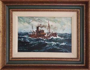 Jack L. Gray Oil on Canvas Board, Steam Trawler At Sea