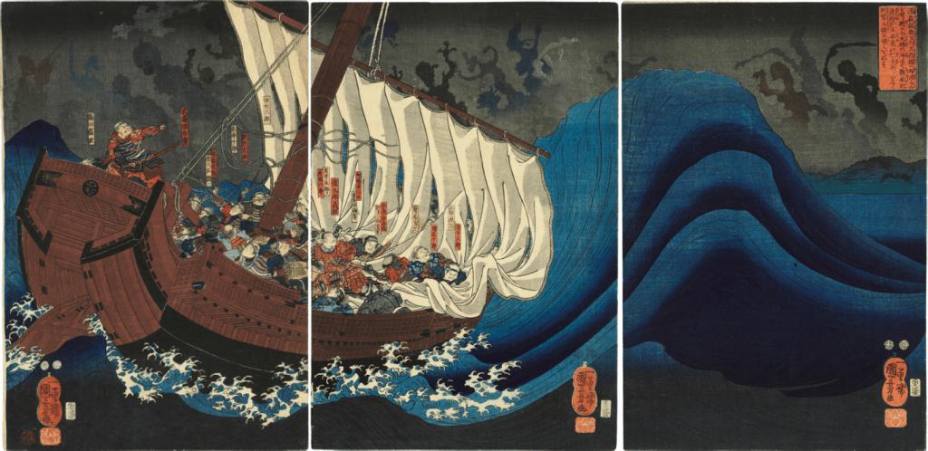 Utagawa Kuniyoshi, The Ghosts of the Taira Attack Yoshitsune in Daimotsu Bay, c. 1849-52. Image from Christie's.
