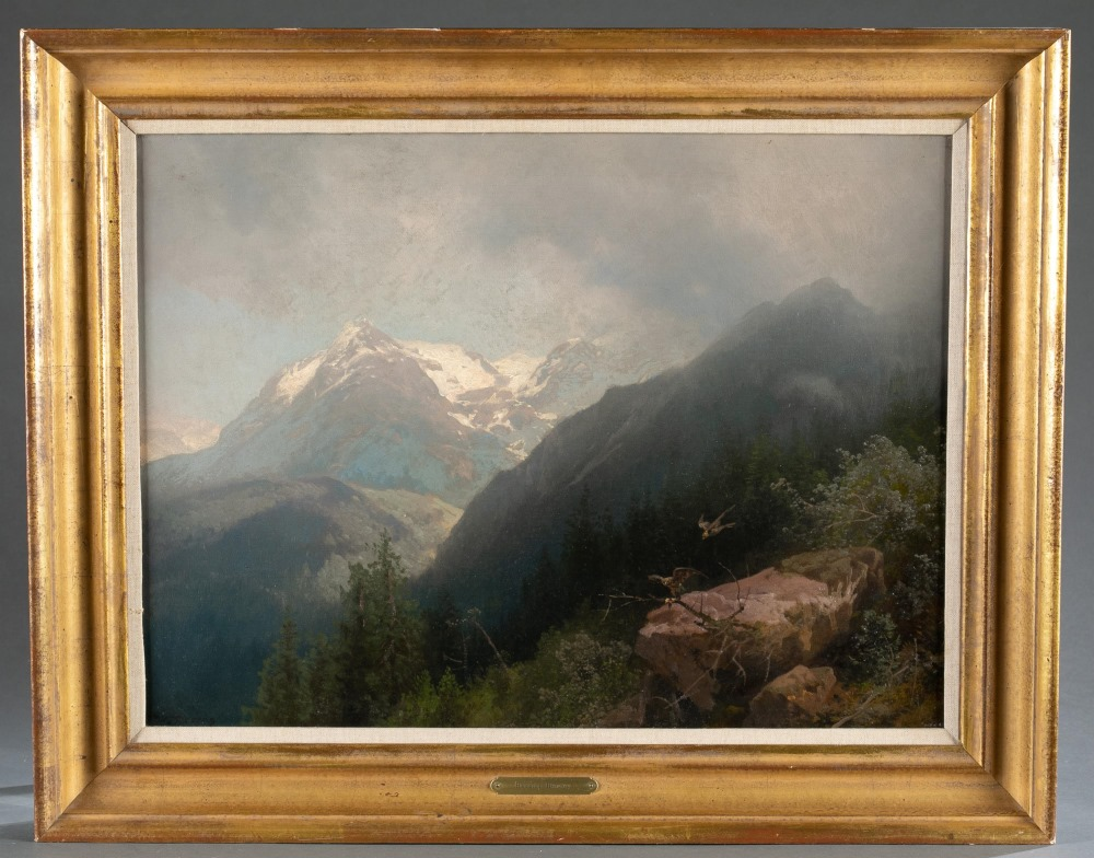 Herman Herzog (German/ American, 1832-1932), 'Norwegian Highland near a Northern Fjord,' late 19th/early 20th century. Oil-on-canvas. Faintly signed. 17¼ x 23 inches. Provenance: Potomac, Maryland, doctor's estate.  Estimate $6,000-$9,000