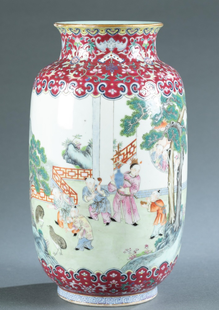 Rare ruby-ground famille rose porcelain vase, six-character Qianlong red-seal mark, probably of the period. Neck and shoulder decorated with good luck symbols. Main composition shows children on terrace that overlooks landscape and pavilion. Purchased in 1922. 11 1/8 inches high. Provenance: Estate of Catherine Spencer Eddy Beveridge and her aunt, Delia Macomb Spencer Field, the second wife of Marshall Field. Estimate $25,000-$35,000