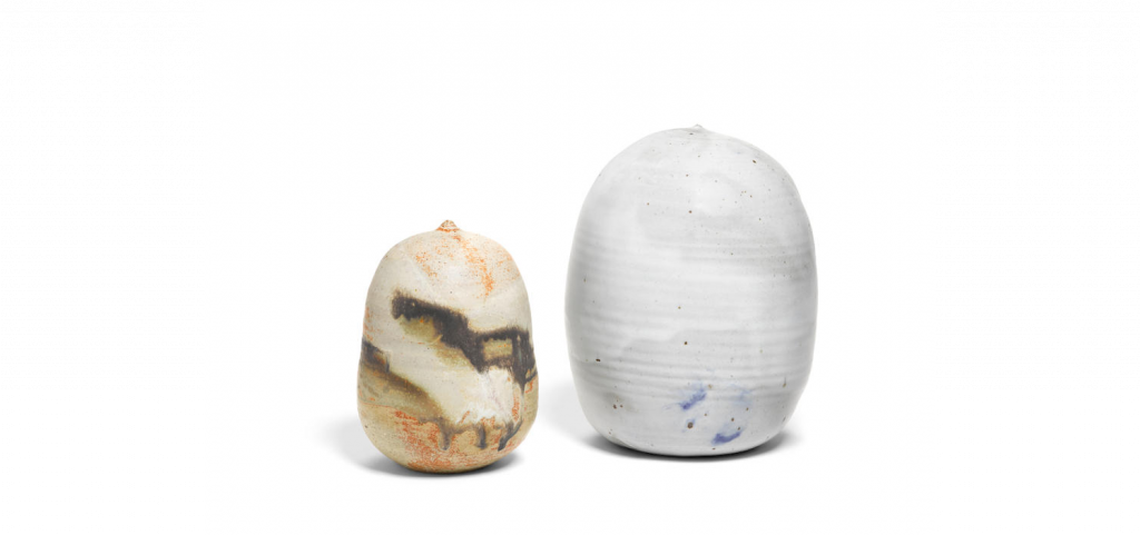 Toshiko Takaezu, Mountain Pot and Full Moon Pot, 1980s and c. 2000, respectively. Image from Bonhams.