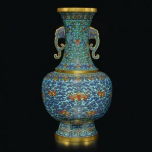 An exceptionally rare cloisonné enamel 'bats and clouds' vase, Qing dynasty, Qianlong period